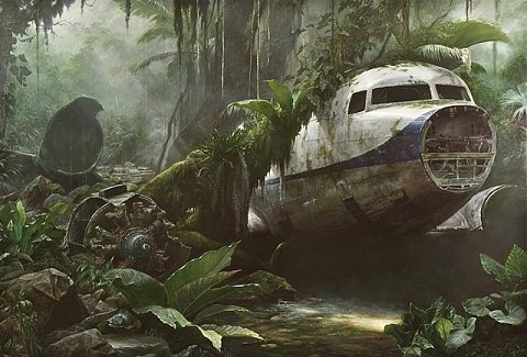 Jonathan Wateridge - Jungle Scene with Plane Wreck